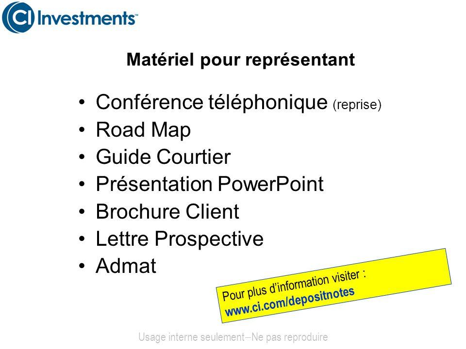 Matériel pour représentant Conférence téléphonique (reprise) Road Map Guide Courtier Présentation PowerPoint Brochure Client Lettre Prospective Admat
