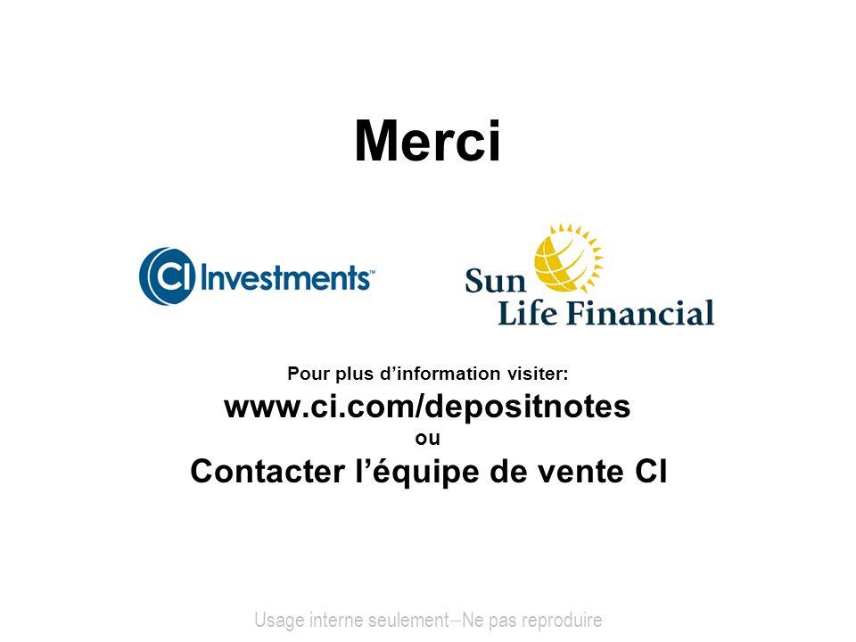 Merci Pour plus dinformation visiter: www.ci.com/depositnotes ou Contacter léquipe de vente CI Usage interne seulement Ne pas reproduire