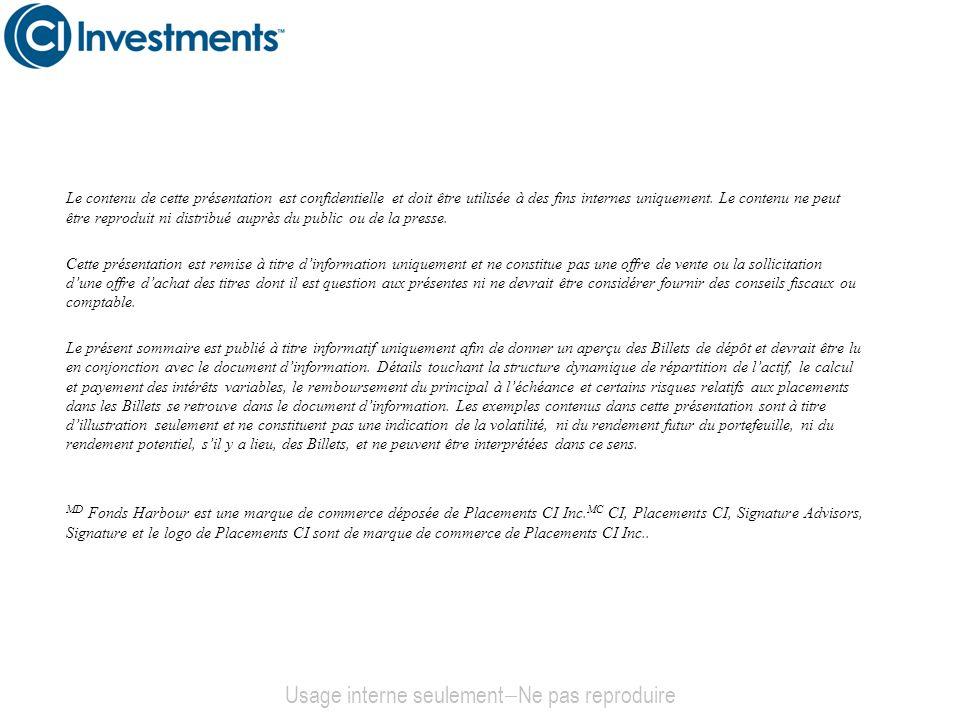 Un investissement alternatif efficient Environnement à faible taux d intérêt continu: Les récentes hausses nont pas été significatives, par contre, cela cest traduit en perte pour les portefeuilles dobligation.