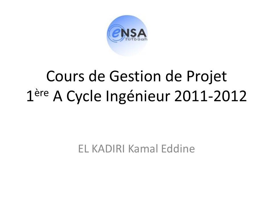 Cours de Gestion de Projet 1 ère A Cycle Ingénieur 2011-2012 EL KADIRI Kamal Eddine