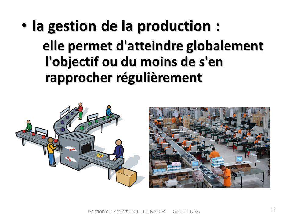 la gestion de la production : la gestion de la production : elle permet d'atteindre globalement l'objectif ou du moins de s'en rapprocher régulièremen