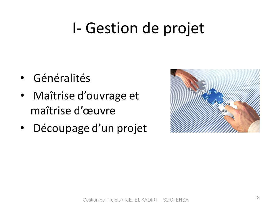 I- Gestion de projet Généralités Maîtrise douvrage et maîtrise dœuvre Découpage dun projet 3 Gestion de Projets / K.E. EL KADIRI S2 CI ENSA
