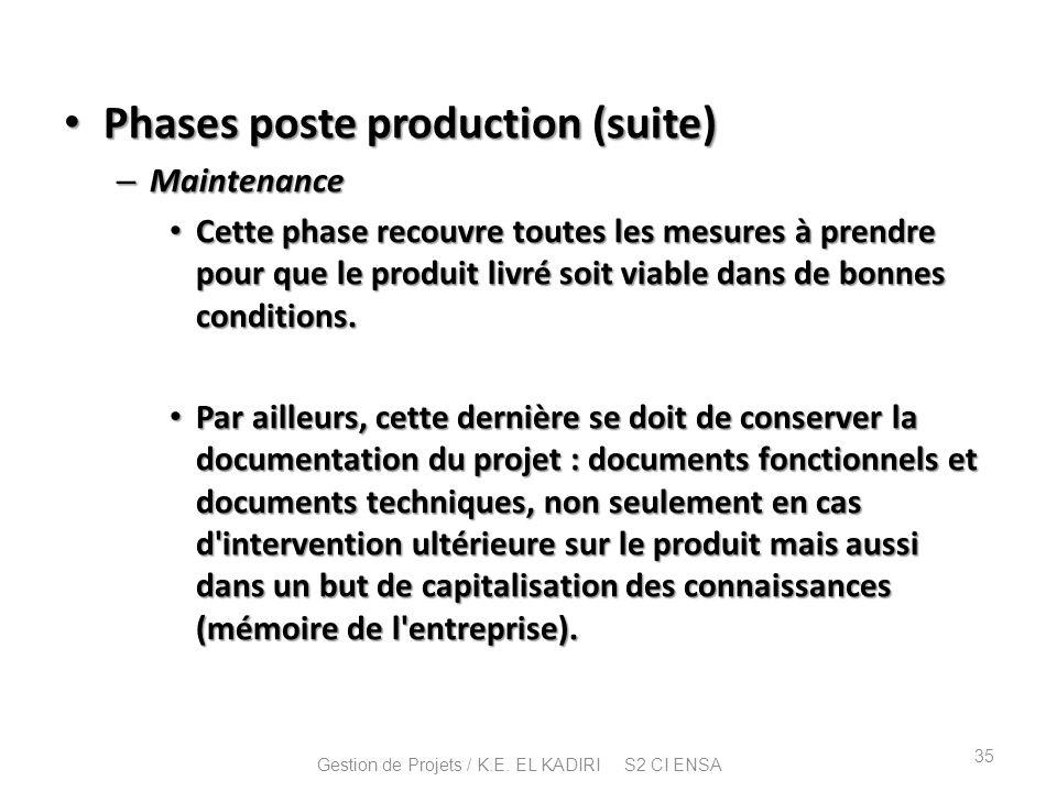 Phases poste production (suite) Phases poste production (suite) – Maintenance Cette phase recouvre toutes les mesures à prendre pour que le produit li