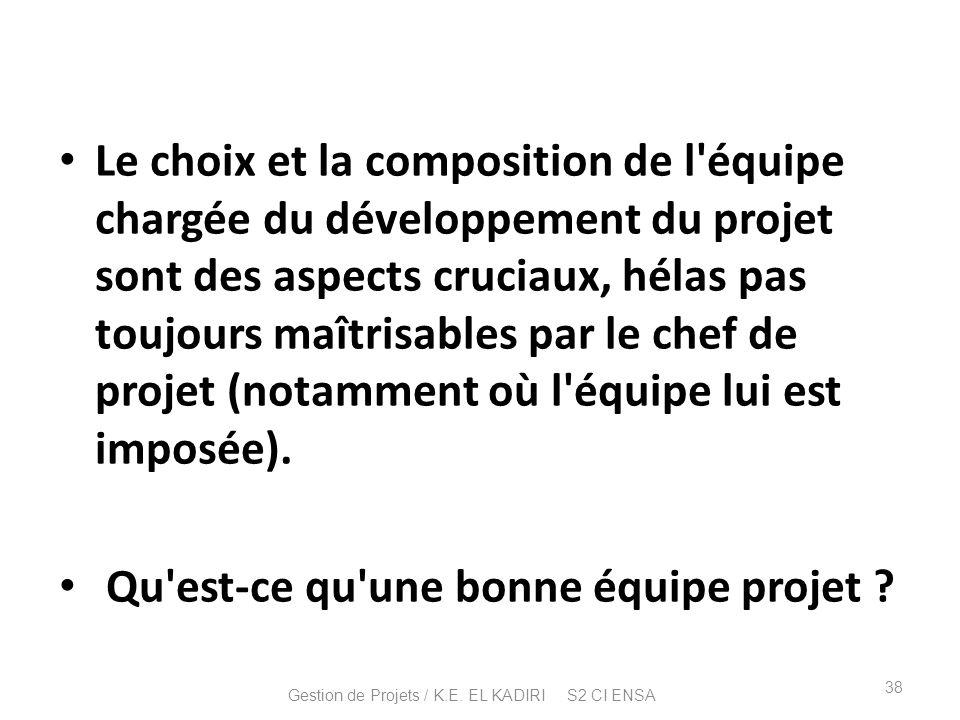 Le choix et la composition de l'équipe chargée du développement du projet sont des aspects cruciaux, hélas pas toujours maîtrisables par le chef de pr