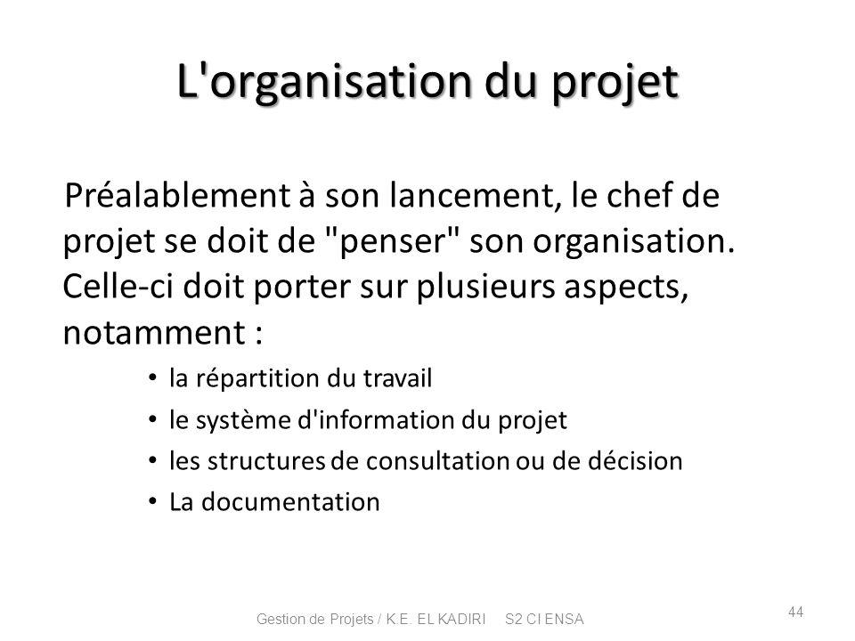 L'organisation du projet Préalablement à son lancement, le chef de projet se doit de