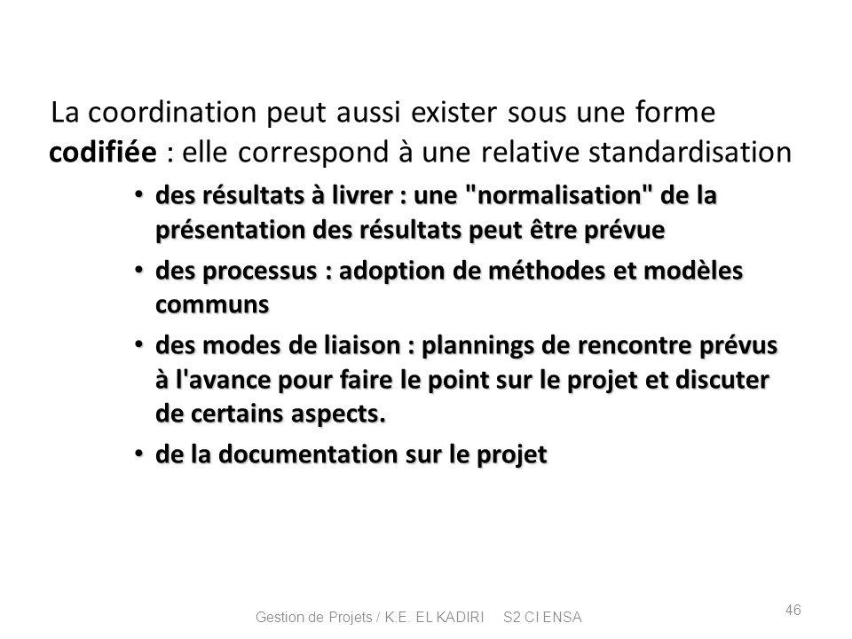 La coordination peut aussi exister sous une forme codifiée : elle correspond à une relative standardisation des résultats à livrer : une