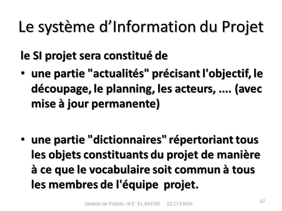 Le système dInformation du Projet le SI projet sera constitué de une partie