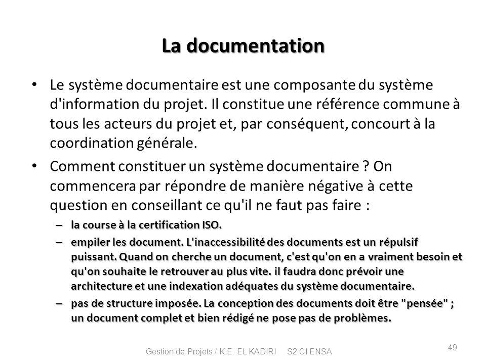 La documentation Le système documentaire est une composante du système d'information du projet. Il constitue une référence commune à tous les acteurs
