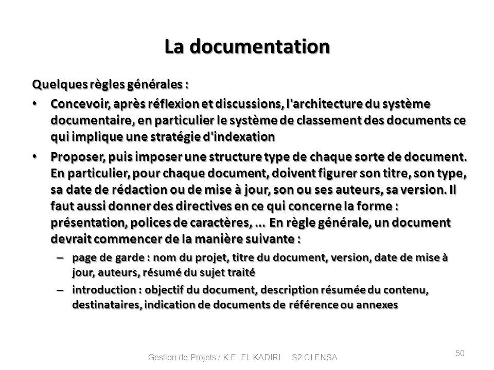 La documentation Quelques règles générales : Concevoir, après réflexion et discussions, l'architecture du système documentaire, en particulier le syst