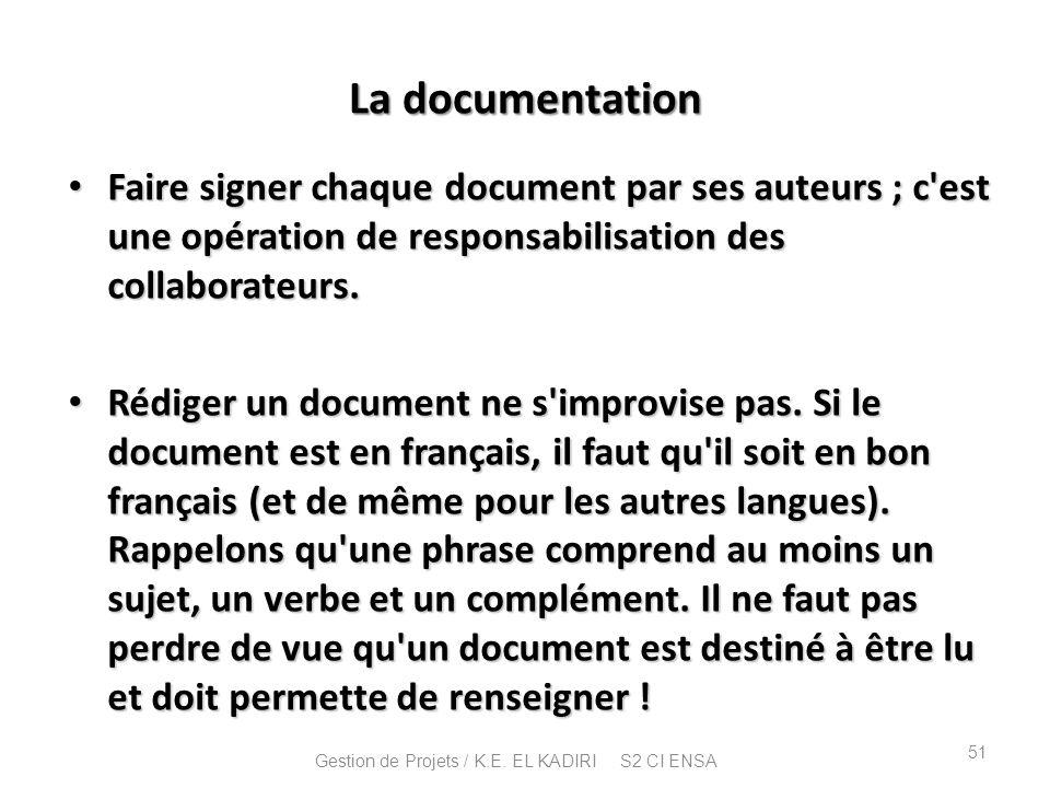 La documentation Faire signer chaque document par ses auteurs ; c'est une opération de responsabilisation des collaborateurs. Faire signer chaque docu