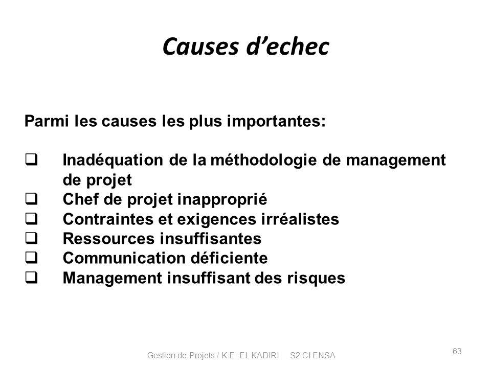 Causes dechec Parmi les causes les plus importantes: Inadéquation de la méthodologie de management de projet Chef de projet inapproprié Contraintes et