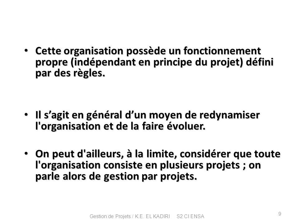 Cette organisation possède un fonctionnement propre (indépendant en principe du projet) défini par des règles. Cette organisation possède un fonctionn