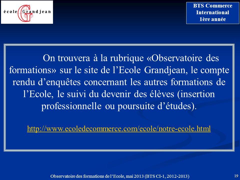 Observatoire des formations de lEcole, mai 2013 (BTS CI-1, 2012-2013) 19 BTS Commerce International 1ère année On trouvera à la rubrique «Observatoire