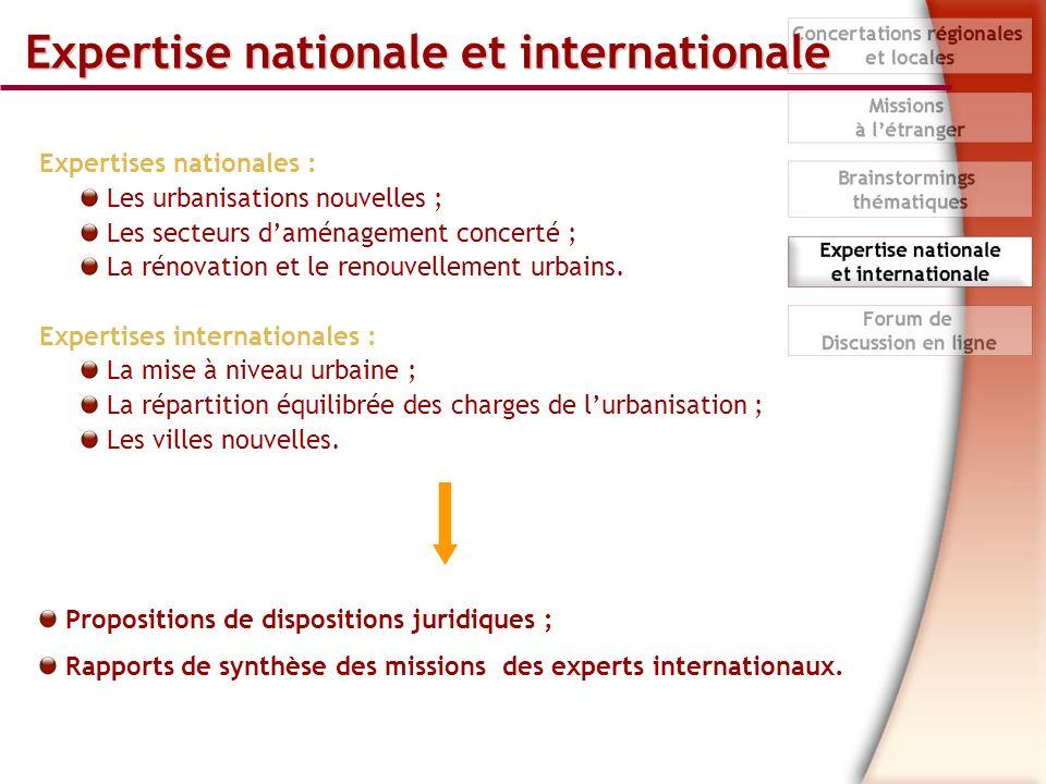 Expertise nationale et internationale Expertises nationales : Les urbanisations nouvelles ; Les secteurs daménagement concerté ; La rénovation et le renouvellement urbains.