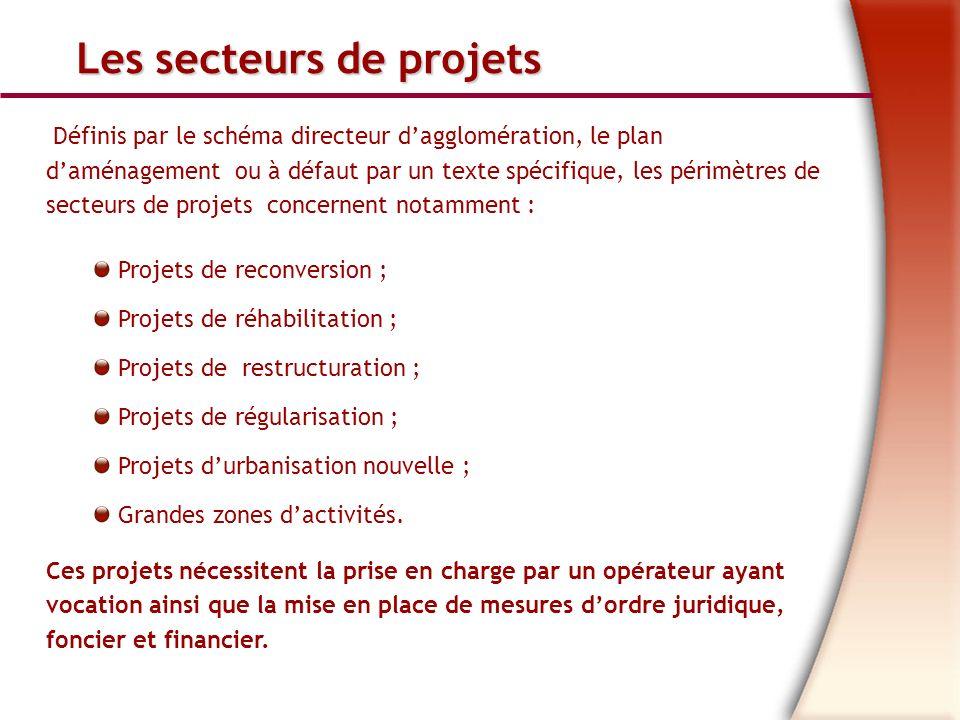 Les secteurs de projets Définis par le schéma directeur dagglomération, le plan daménagement ou à défaut par un texte spécifique, les périmètres de secteurs de projets concernent notamment : Projets de reconversion ; Projets de réhabilitation ; Projets de restructuration ; Projets de régularisation ; Projets durbanisation nouvelle ; Grandes zones dactivités.