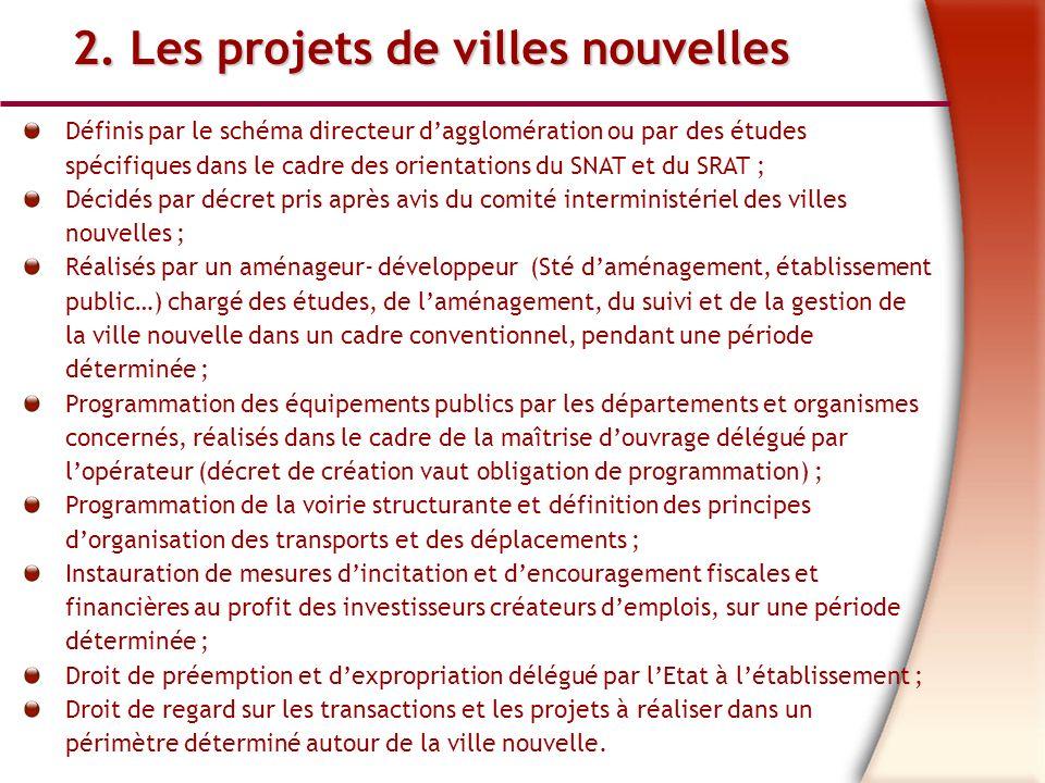 2. Les projets de villes nouvelles Définis par le schéma directeur dagglomération ou par des études spécifiques dans le cadre des orientations du SNAT