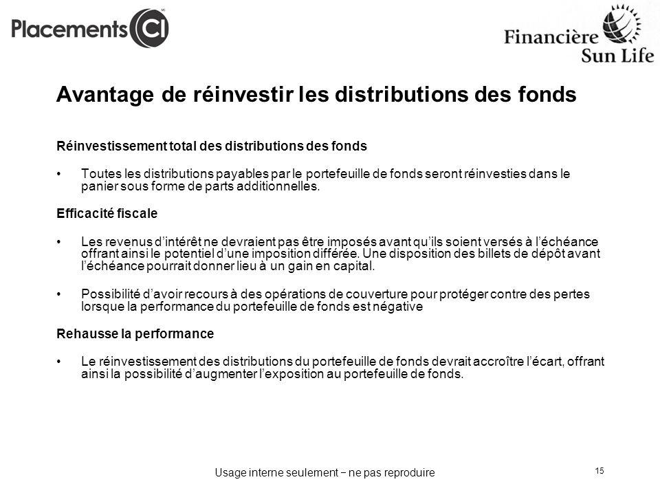 Usage interne seulement ne pas reproduire 15 Réinvestissement total des distributions des fonds Toutes les distributions payables par le portefeuille