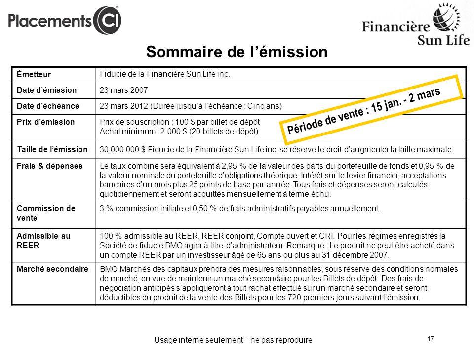 Usage interne seulement ne pas reproduire 17 Sommaire de lémission ÉmetteurFiducie de la Financière Sun Life inc. Date démission23 mars 2007 Date déch
