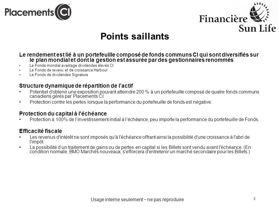 Usage interne seulement ne pas reproduire 3 Points saillants Le rendement est lié à un portefeuille composé de fonds communs CI qui sont diversifiés s