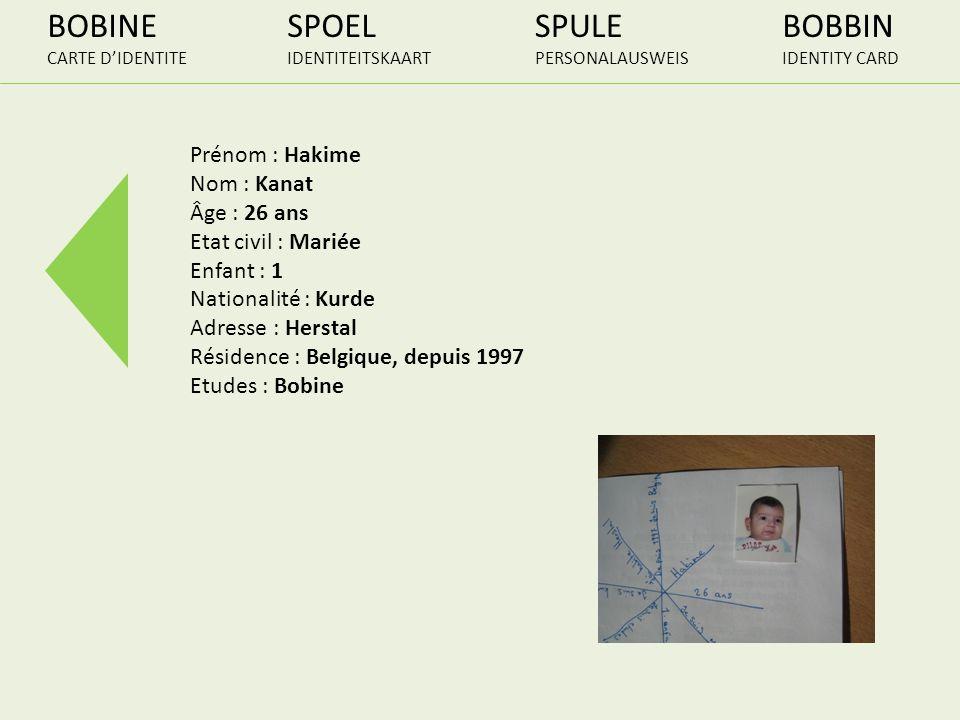 BOBINE CARTE DIDENTITE SPOEL IDENTITEITSKAART SPULE PERSONALAUSWEIS BOBBIN IDENTITY CARD Prénom : Hakime Nom : Kanat Âge : 26 ans Etat civil : Mariée