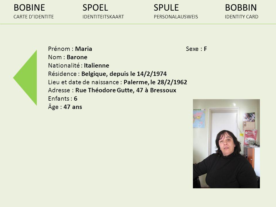 BOBINE CARTE DIDENTITE SPOEL IDENTITEITSKAART SPULE PERSONALAUSWEIS BOBBIN IDENTITY CARD Prénom : MariaSexe : F Nom : Barone Nationalité : Italienne R
