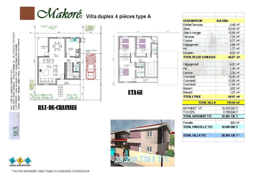 Makoré: Makoré: Villa duplex 4 pièces type A