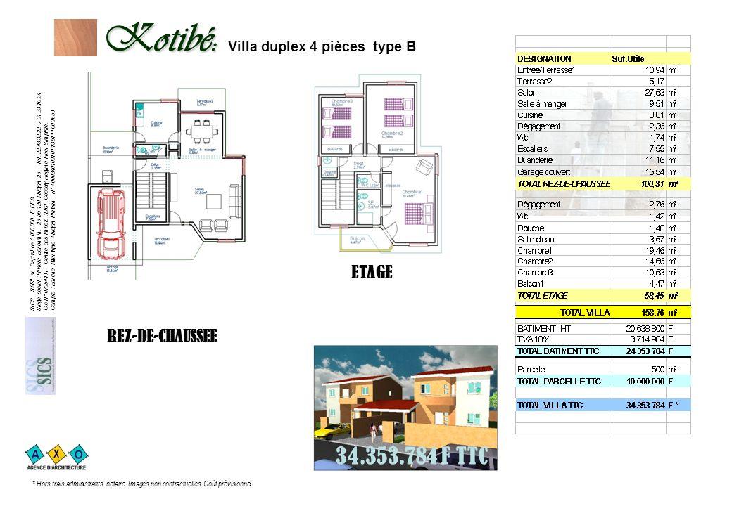 Kotibé: Kotibé: Villa duplex 4 pièces type B
