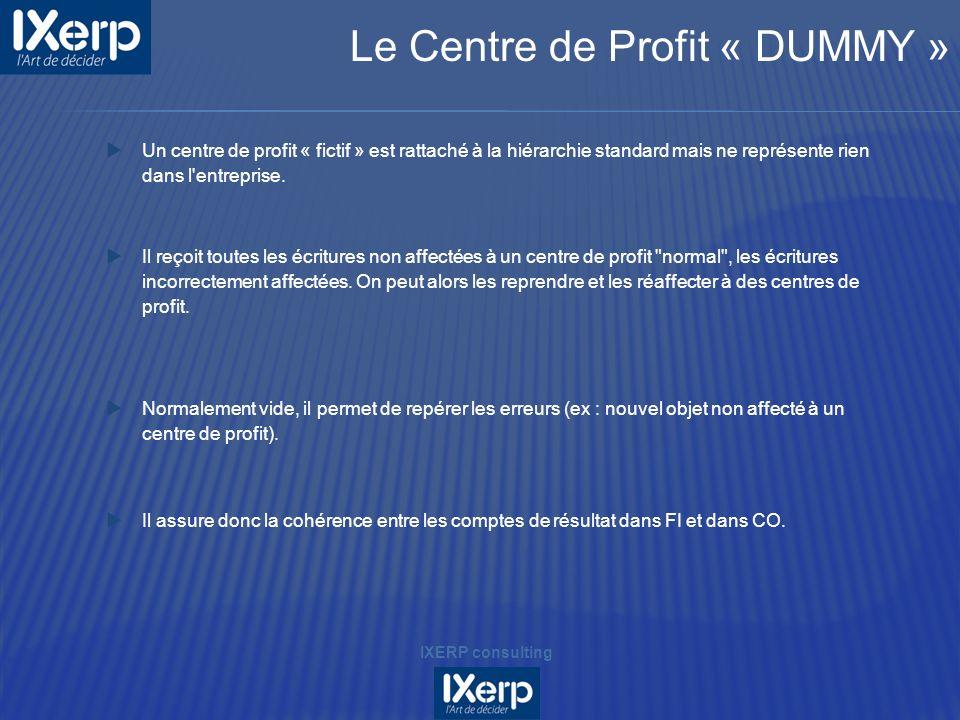 Un centre de profit « fictif » est rattaché à la hiérarchie standard mais ne représente rien dans l'entreprise. Il reçoit toutes les écritures non aff