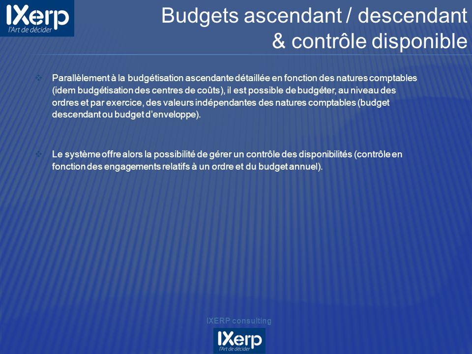 Parallèlement à la budgétisation ascendante détaillée en fonction des natures comptables (idem budgétisation des centres de coûts), il est possible de