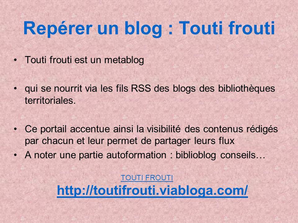 Repérer un blog : Touti frouti Touti frouti est un metablog qui se nourrit via les fils RSS des blogs des bibliothèques territoriales. Ce portail acce