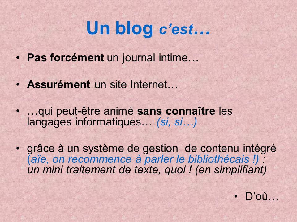 Un blog cest … Pas forcément un journal intime… Assurément un site Internet… …qui peut-être animé sans connaître les langages informatiques… (si, si…)