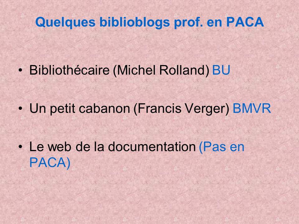 Quelques biblioblogs prof. en PACA Bibliothécaire (Michel Rolland) BU Un petit cabanon (Francis Verger) BMVR Le web de la documentation (Pas en PACA)