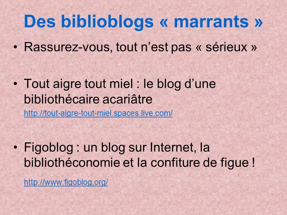Des biblioblogs « marrants » Rassurez-vous, tout nest pas « sérieux » Tout aigre tout miel : le blog dune bibliothécaire acariâtre http://tout-aigre-t