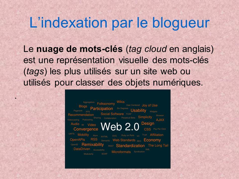 Lindexation par le blogueur Le nuage de mots-clés (tag cloud en anglais) est une représentation visuelle des mots-clés (tags) les plus utilisés sur un