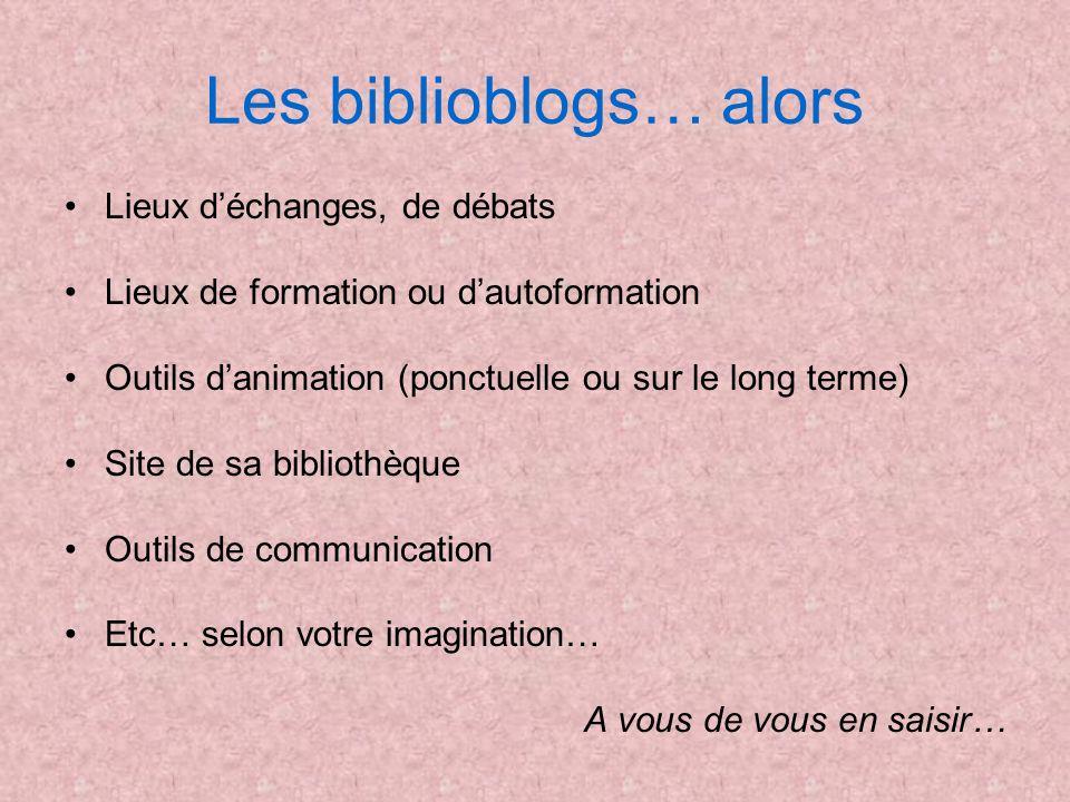 Les biblioblogs… alors Lieux déchanges, de débats Lieux de formation ou dautoformation Outils danimation (ponctuelle ou sur le long terme) Site de sa