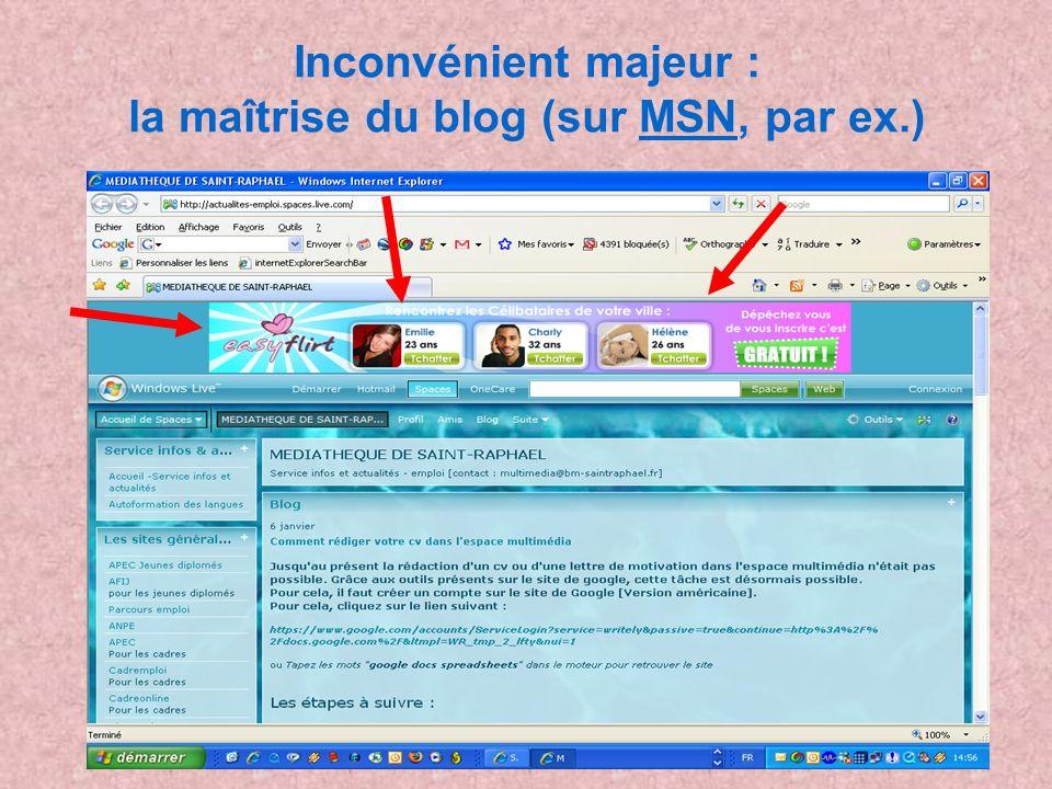 Inconvénient majeur : la maîtrise du blog (sur MSN, par ex.)MSN