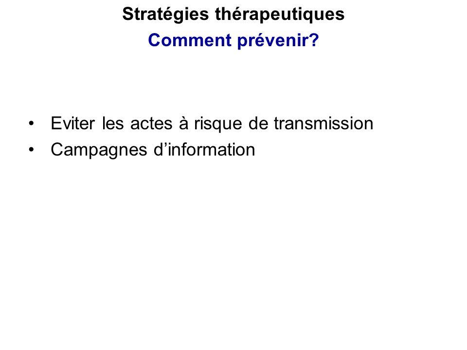 Eviter les actes à risque de transmission Campagnes dinformation Stratégies thérapeutiques Comment prévenir?