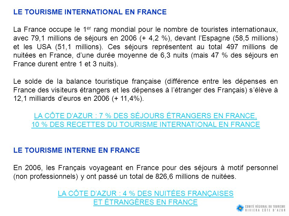 LE TOURISME INTERNATIONAL EN FRANCE La France occupe le 1 er rang mondial pour le nombre de touristes internationaux, avec 79,1 millions de séjours en
