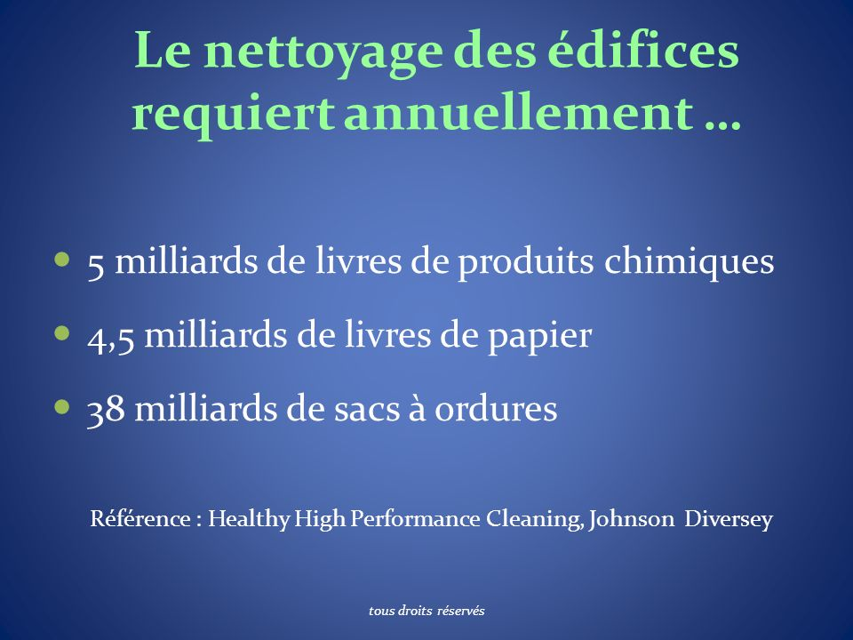 Le nettoyage des édifices requiert annuellement … 5 milliards de livres de produits chimiques 4,5 milliards de livres de papier 38 milliards de sacs à ordures Référence : Healthy High Performance Cleaning, Johnson Diversey tous droits réservés