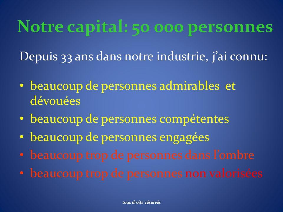 Notre capital: 50 000 personnes Depuis 33 ans dans notre industrie, jai connu: beaucoup de personnes admirables et dévouées beaucoup de personnes comp