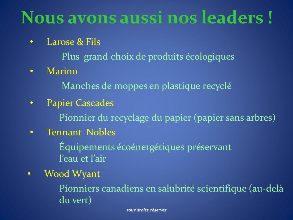 Nous avons aussi nos leaders ! Larose & Fils Plus grand choix de produits écologiques Marino Manches de moppes en plastique recyclé Papier Cascades Pi