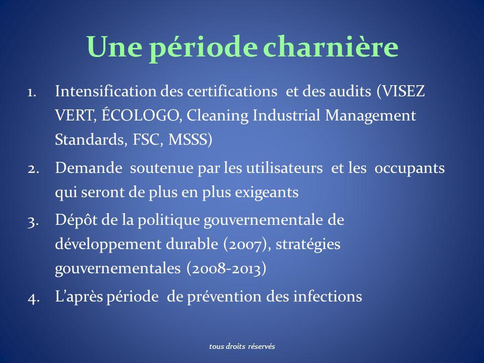 Une période charnière 1.Intensification des certifications et des audits (VISEZ VERT, ÉCOLOGO, Cleaning Industrial Management Standards, FSC, MSSS) 2.Demande soutenue par les utilisateurs et les occupants qui seront de plus en plus exigeants 3.Dépôt de la politique gouvernementale de développement durable (2007), stratégies gouvernementales (2008-2013) 4.Laprès période de prévention des infections tous droits réservés