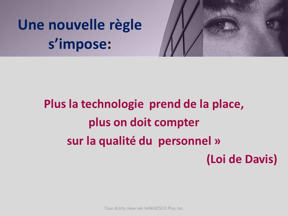 Plus la technologie prend de la place, plus on doit compter sur la qualité du personnel » (Loi de Davis) Tous droits réservés SANIGESCO Plus inc. Une