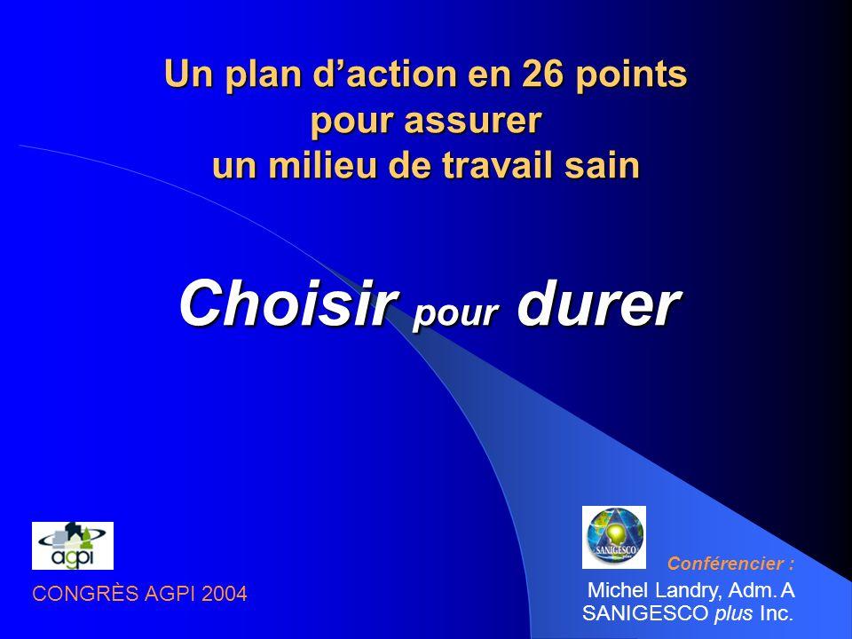 Un plan daction en 26 points pour assurer un milieu de travail sain Choisir pour durer Conférencier : Michel Landry, Adm.