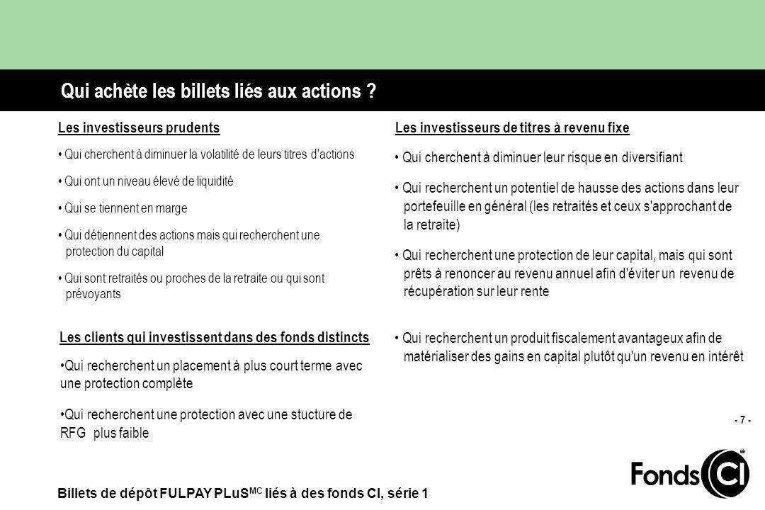 Billets de dépôt FULPAY PLuS MC liés à des fonds CI, série 1 - 7 - Qui achète les billets liés aux actions .
