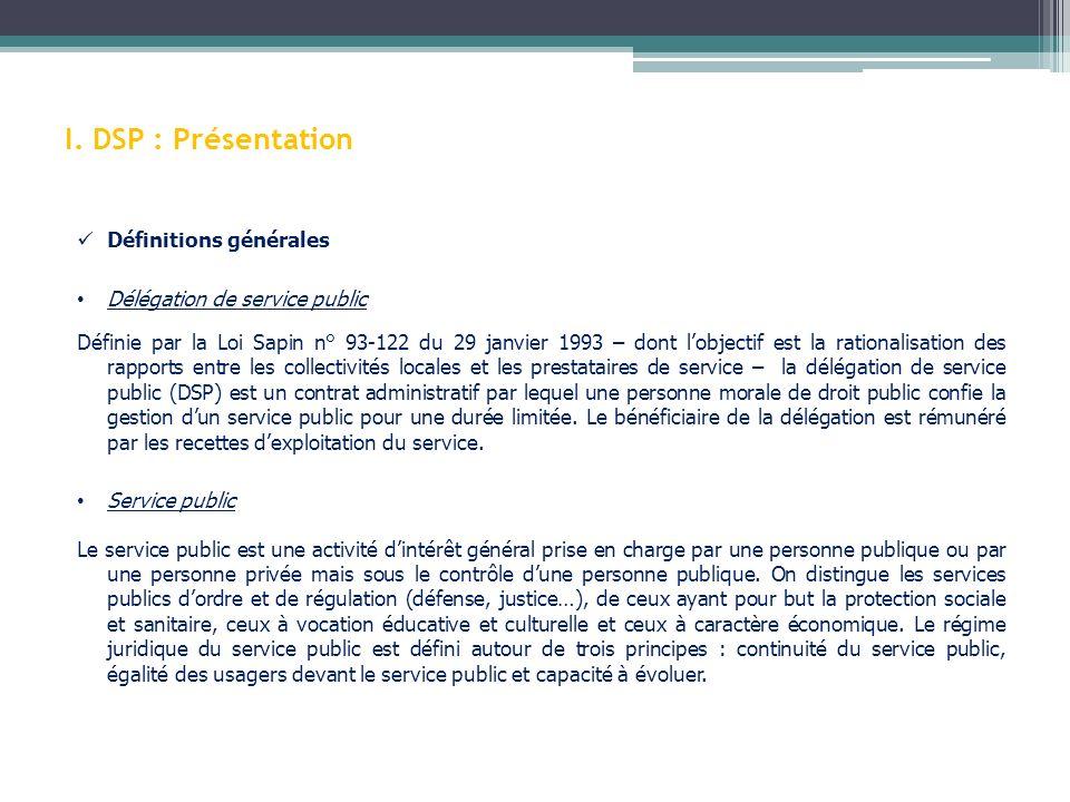 I. DSP : Présentation Définitions générales Délégation de service public Définie par la Loi Sapin n° 93-122 du 29 janvier 1993 – dont lobjectif est la