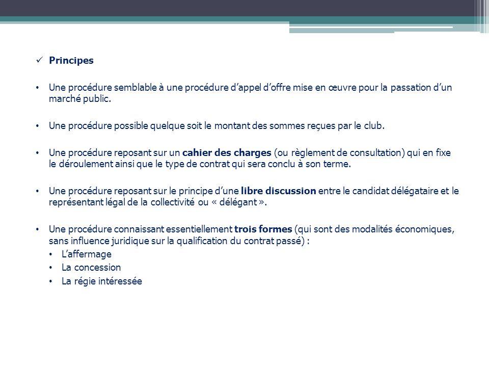 Principes Une procédure semblable à une procédure dappel doffre mise en œuvre pour la passation dun marché public. Une procédure possible quelque soit