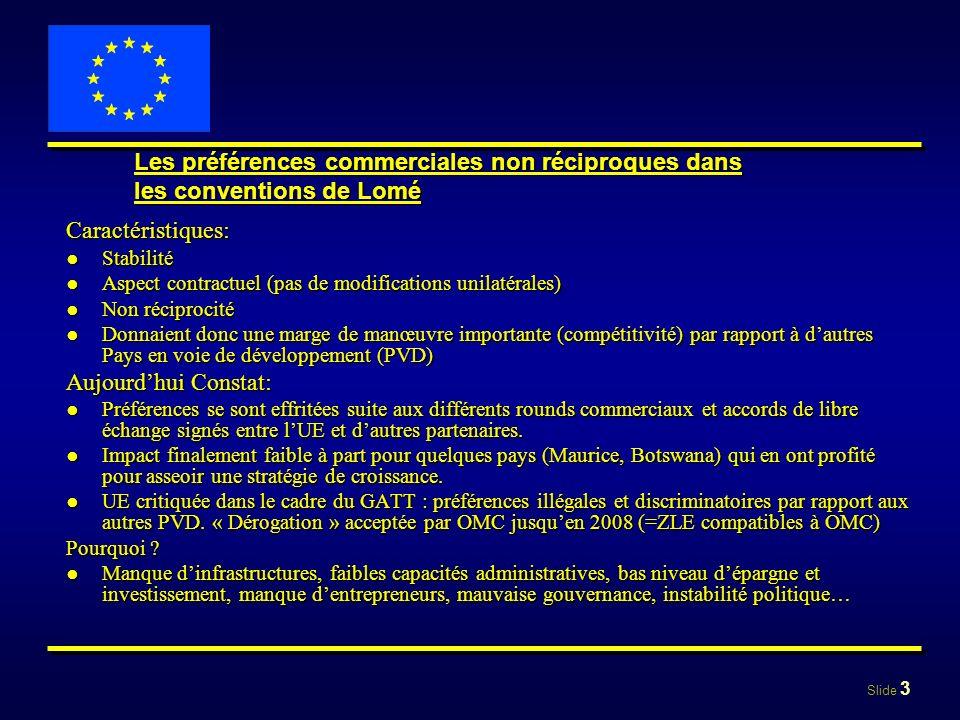 Slide 3 Les préférences commerciales non réciproques dans les conventions de Lomé Caractéristiques: StabilitéStabilité Aspect contractuel (pas de modi