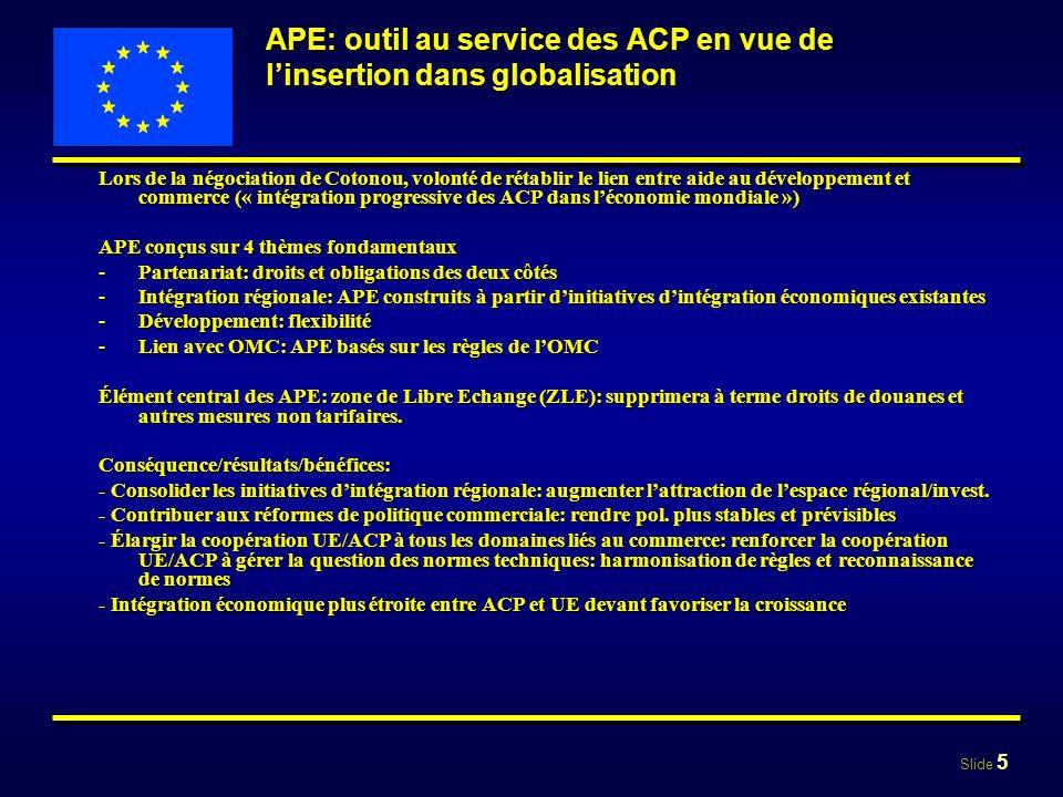 Slide 5 APE: outil au service des ACP en vue de linsertion dans globalisation Lors de la négociation de Cotonou, volonté de rétablir le lien entre aid