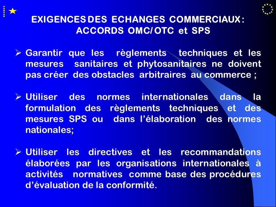 EXIGENCES DES ECHANGES COMMERCIAUX : ACCORDS OMC/ OTC et SPS Garantir que les règlements techniques et les mesures sanitaires et phytosanitaires ne do
